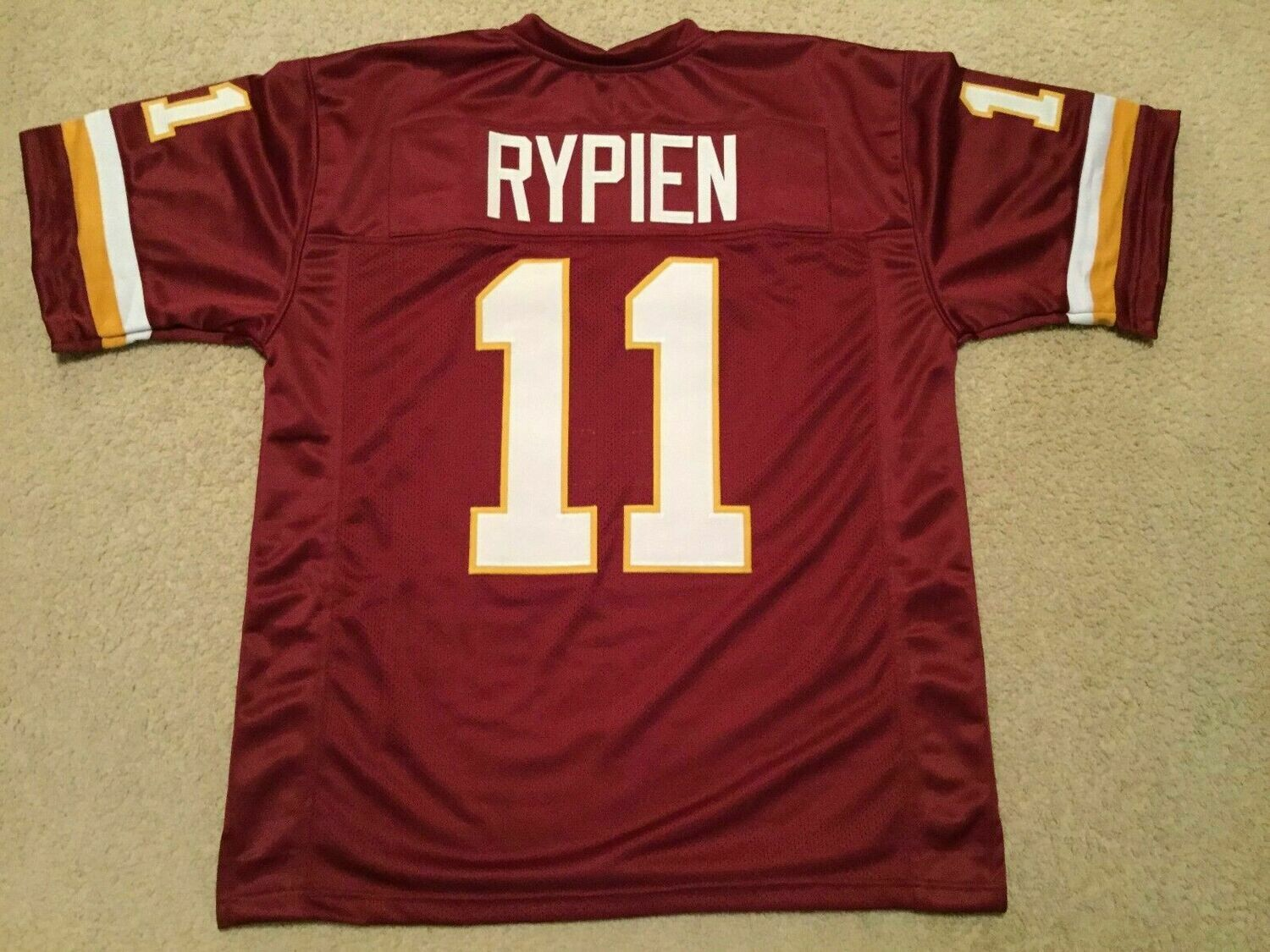 UNSIGNED CUSTOM Sewn Stitched Mark Rypien Burgundy Jersey