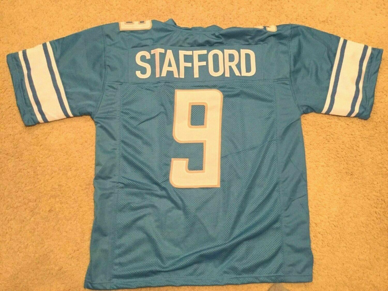 UNSIGNED CUSTOM Sewn Stitched Matthew Stafford Blue Jersey
