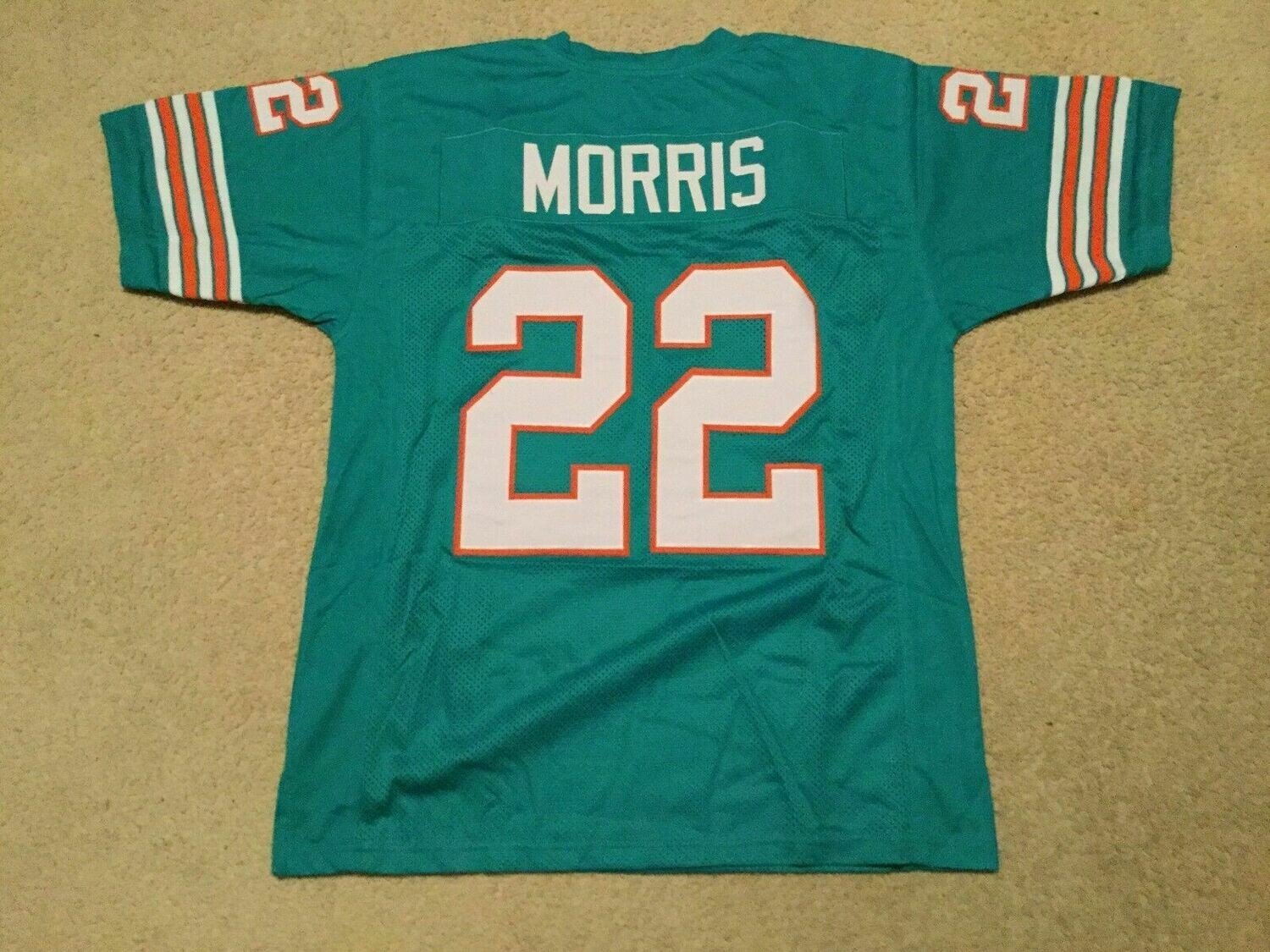 UNSIGNED CUSTOM Sewn Stitched Mercury Morris Teal Jersey