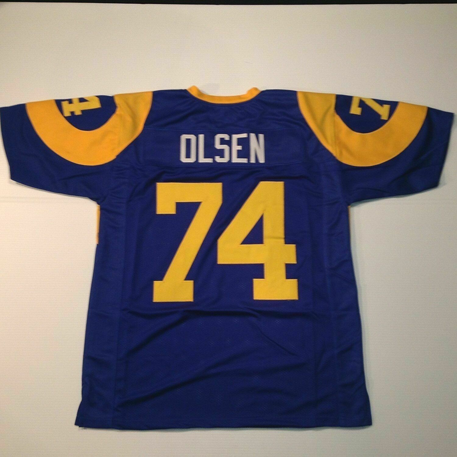 UNSIGNED CUSTOM Sewn Stitched Merlin Olsen Blue Jersey
