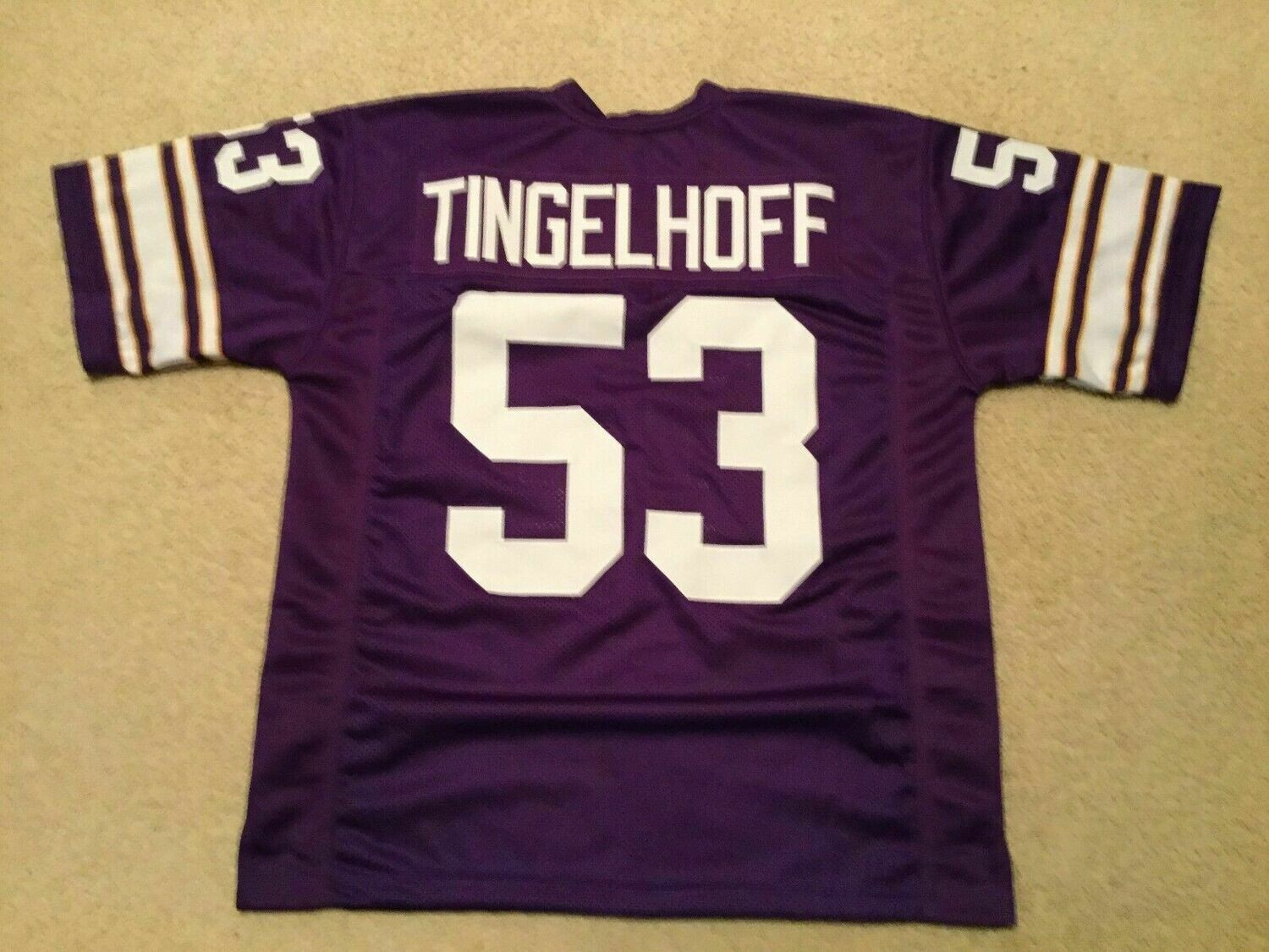 UNSIGNED CUSTOM Sewn Stitched Mick Tingelhoff Purple Jersey