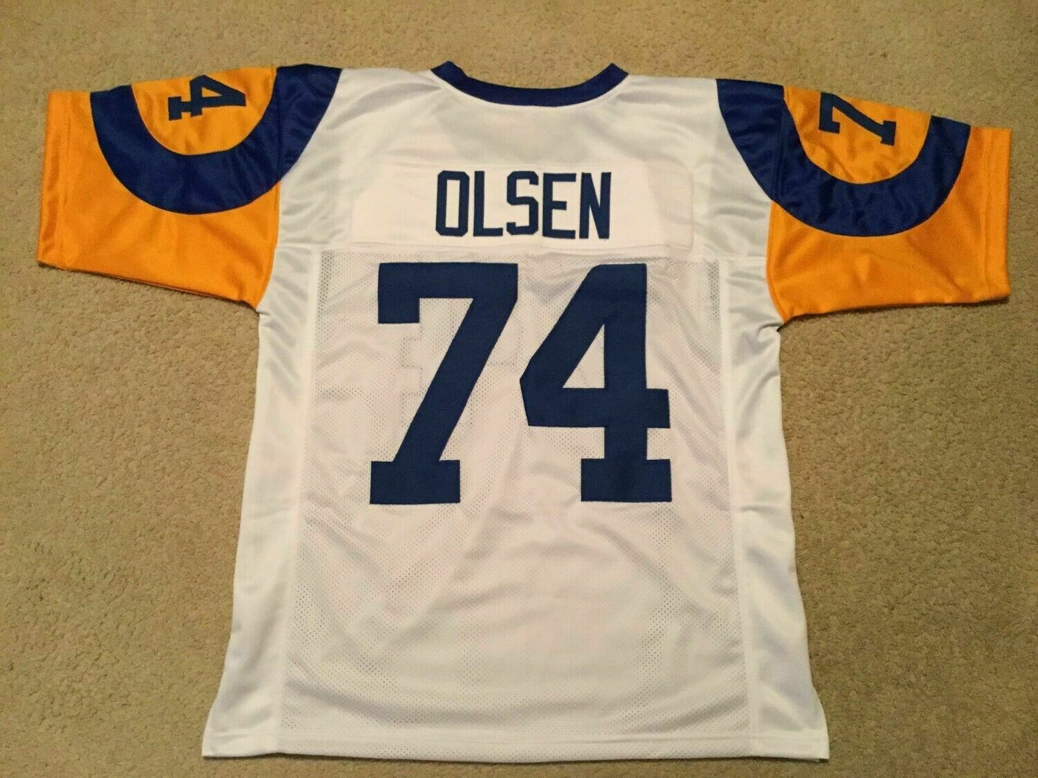 UNSIGNED CUSTOM Sewn Stitched Merlin Olsen White Jersey