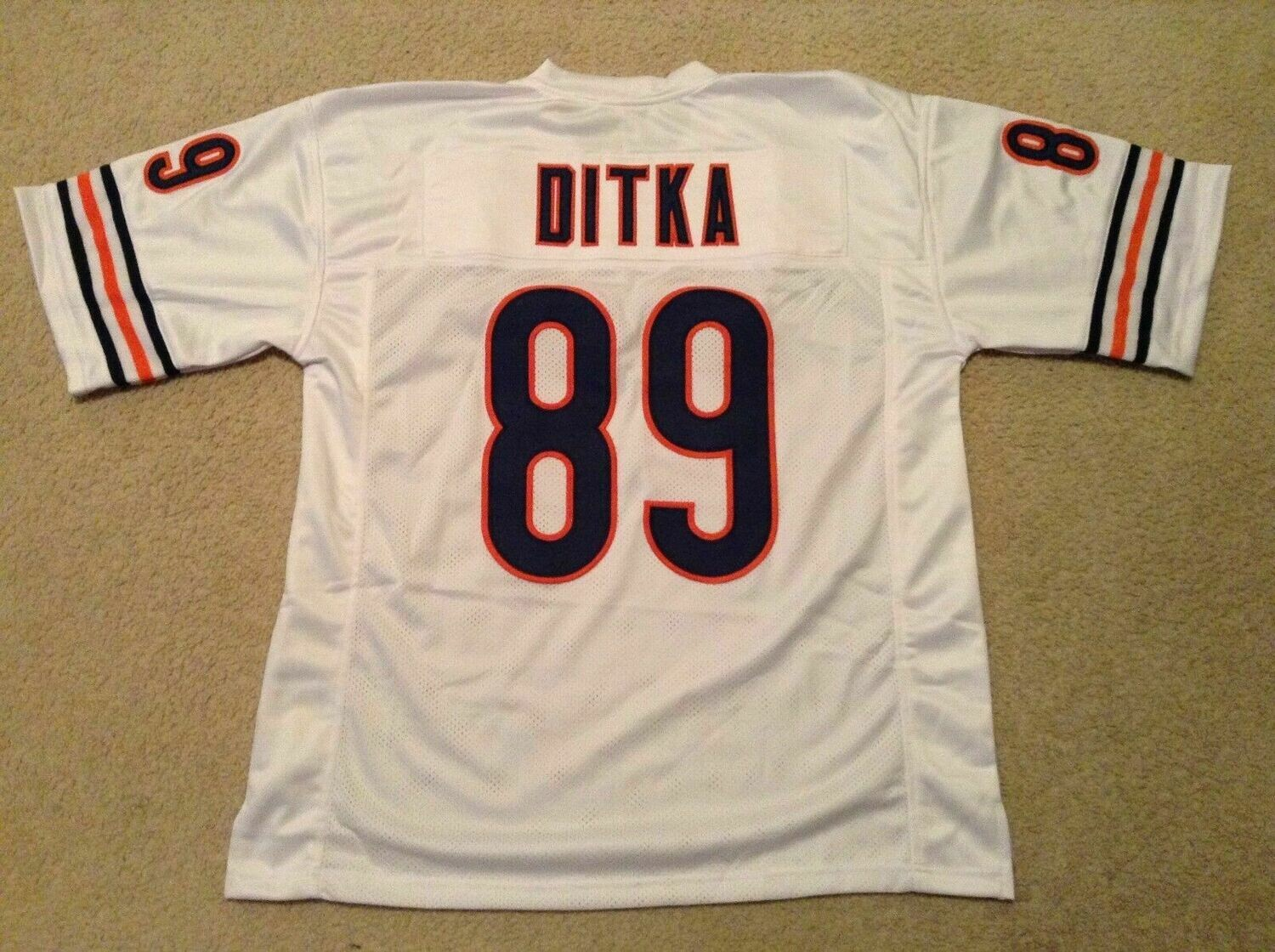 UNSIGNED CUSTOM Sewn Stitched Mike Ditka White Jersey