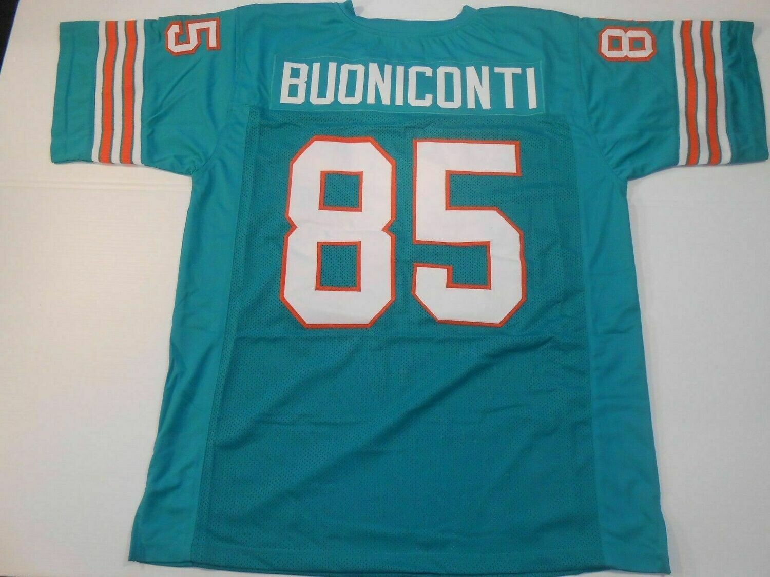 UNSIGNED CUSTOM Sewn Stitched Nick Buoniconti Teal Jersey