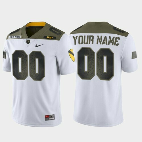 Army Black Knights Custom Name and Number Jersey White College Football