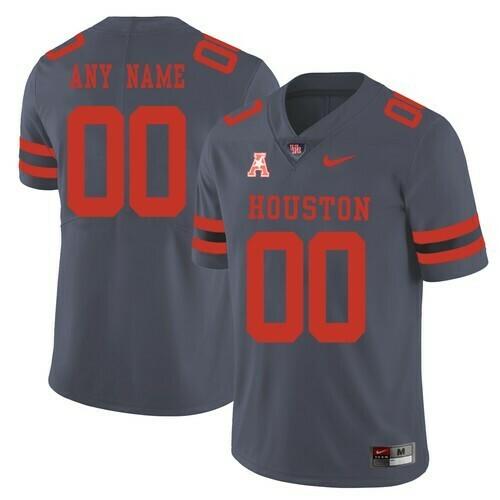 Houston Cougars Custom Jersey Grey College Football