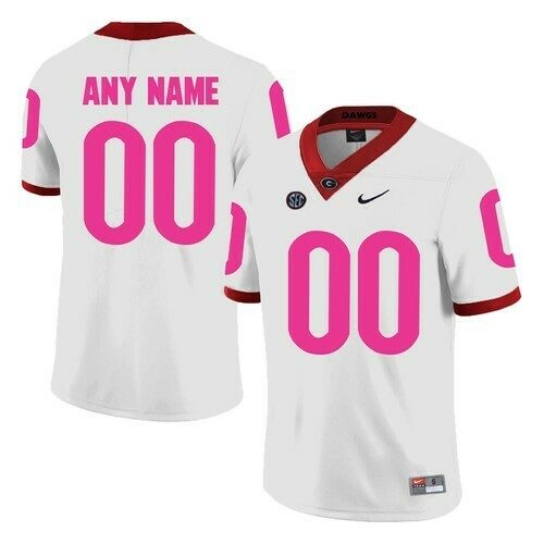 Georgia Bulldogs Custom Jersey White Pink College Football