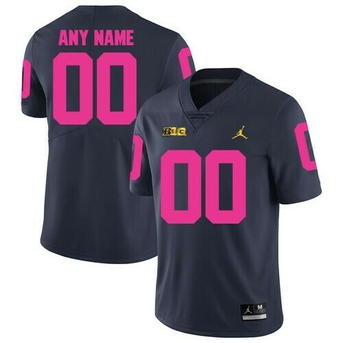 Michigan Wolverines Custom Jersey Navy Pink College Football