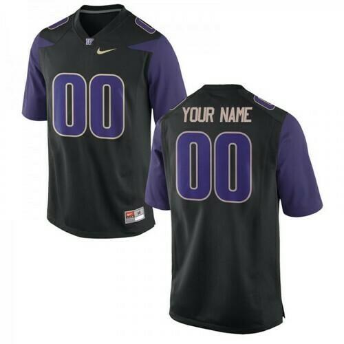 Washington Huskies Custom Name Number Jersey Black College Football