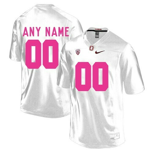 Stanford Cardinals Custom Jersey White Pink College Football