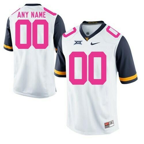 West Virginia Mountaineers Custom Jersey White Pink NCAA Football