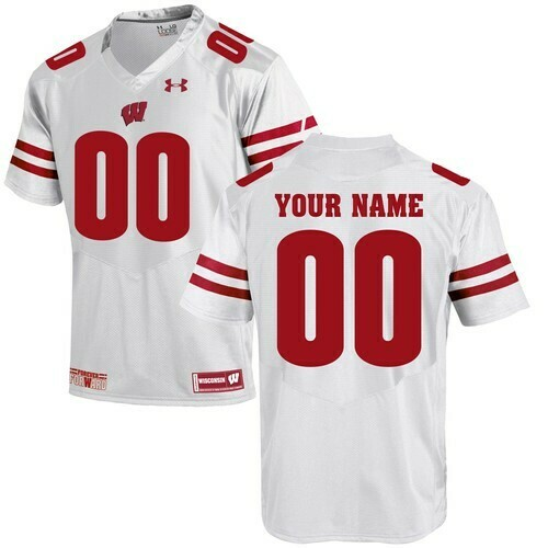 Wisconsin Badgers Custom Jersey White College Football