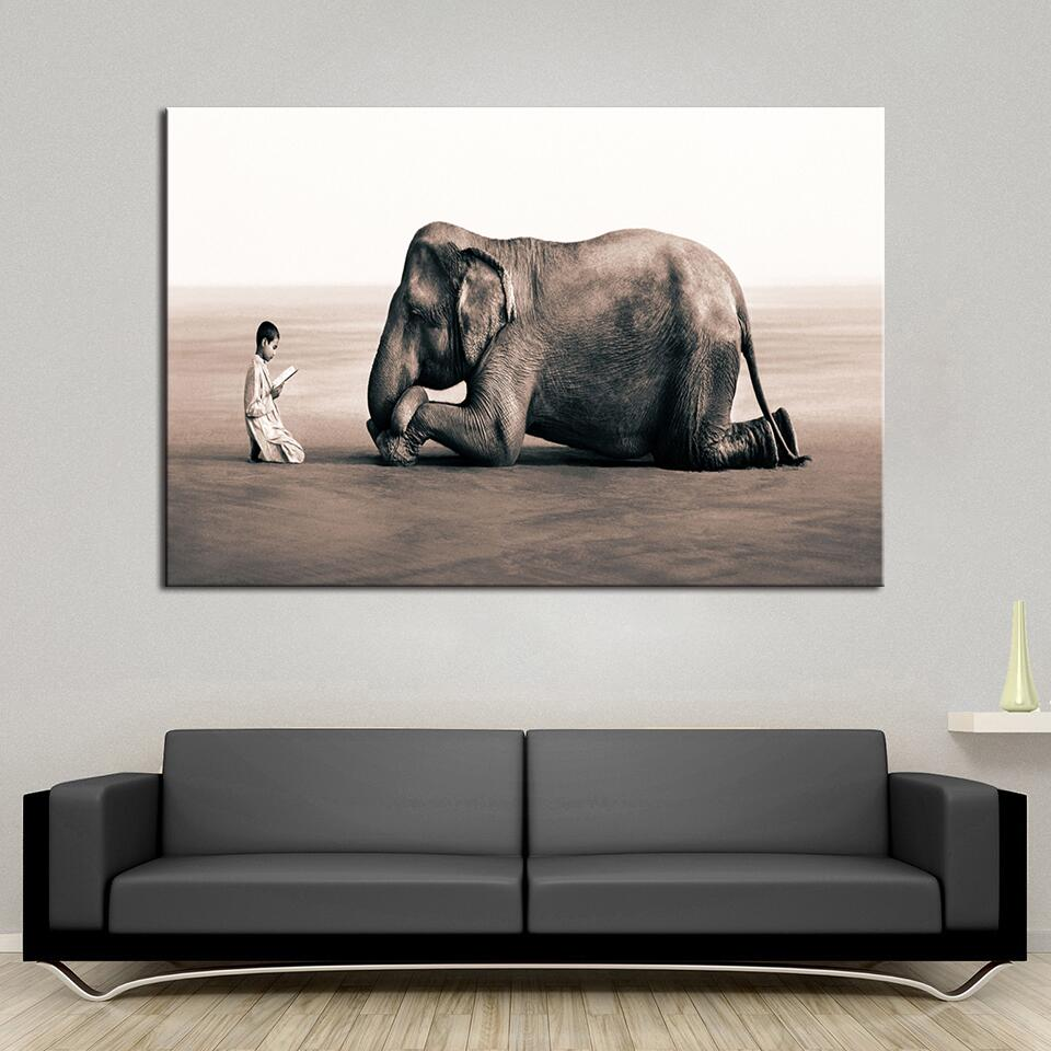 Silhouettes Of Elephants - 1 Panel Canvas Wall Art