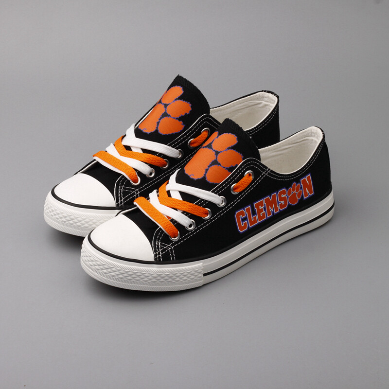 Clemson Tigers Print NCAA College Top Canvas Shoes Sport Sneakers