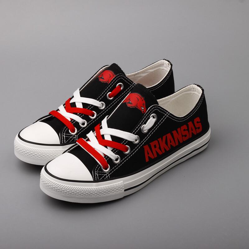 Arkansas Razorbacks Print NCAA Top Canvas Shoes Sport Sneakers