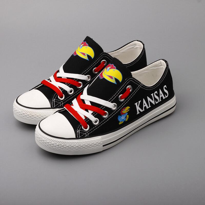 Kansas Jayhawks NCAA College Canvas Shoes Sport Sneakers