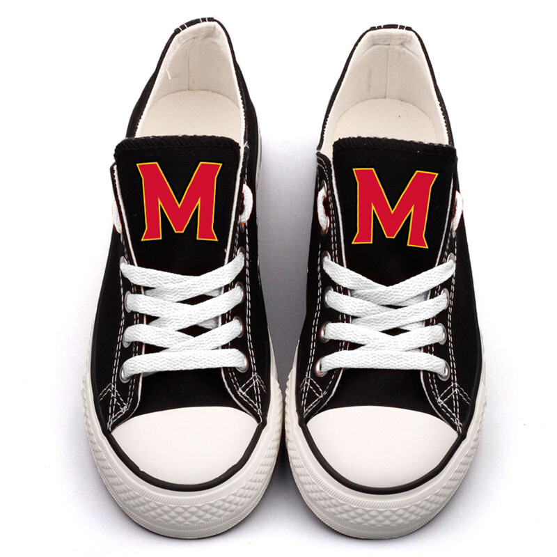 Maryland Terrapins Print NCAA College Canvas Shoes Sport Sneakers