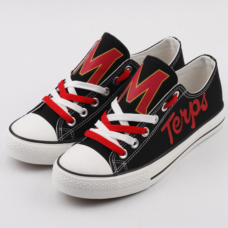 Maryland Terrapins Print NCAA College Canvas Shoes Sport Sneakers 1