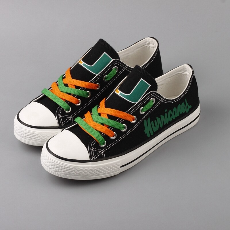 Miami Hurricanes Print NCAA College Canvas Shoes Sport Sneakers
