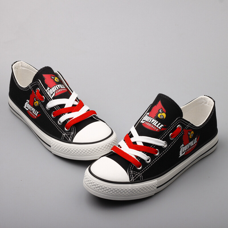 Louisville Cardinals Print NCAA College Canvas Shoes Sport Sneakers 1