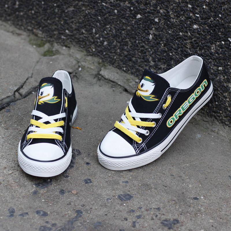 Oregon Ducks Limited Print NCAA College Canvas Shoes Sport Sneakers