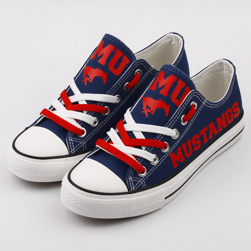 SMU Mustangs Print NCAA College Canvas Shoes Sport Sneakers