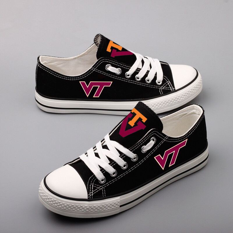 Virginia Tech Hokies Print NCAA College Canvas Shoes Sport Sneakers