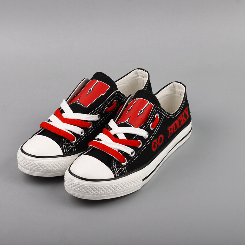 Wisconsin Badgers NCAA College Canvas Shoes Sport Sneakers 1