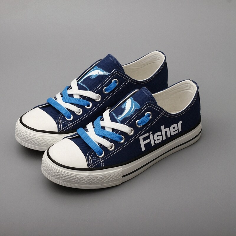 Fisher Marlins Print High School Canvas Shoes Sport Sneakers