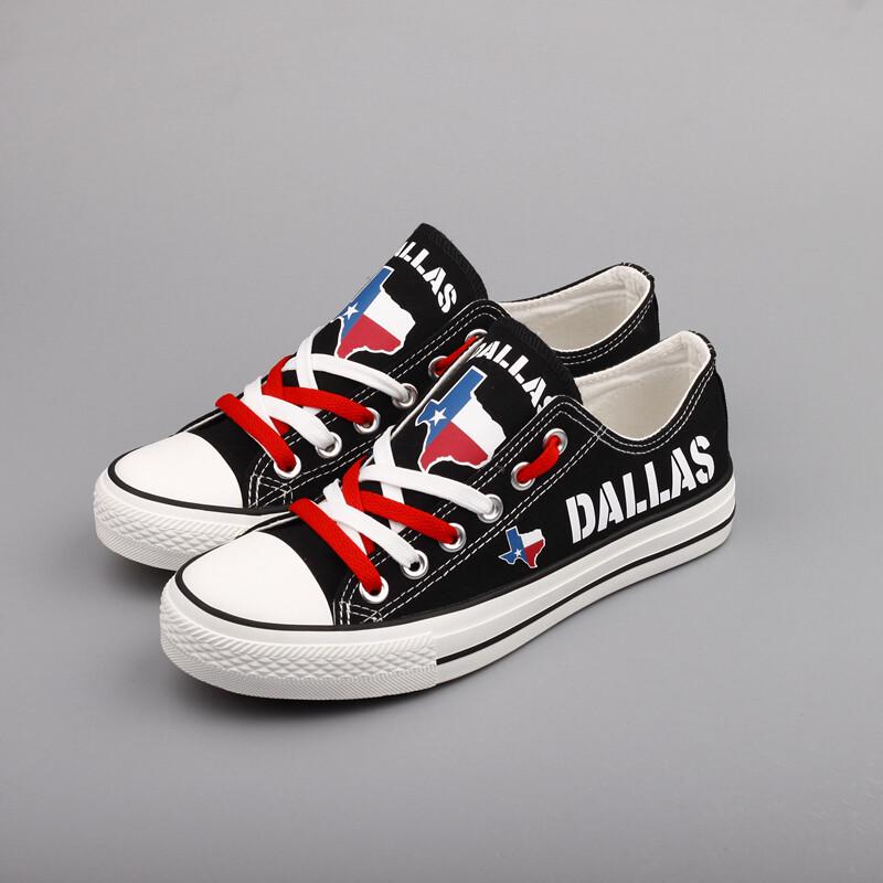 Custom America Print Canvas Shoes Texas State Dallas City Design Sport Sneakers