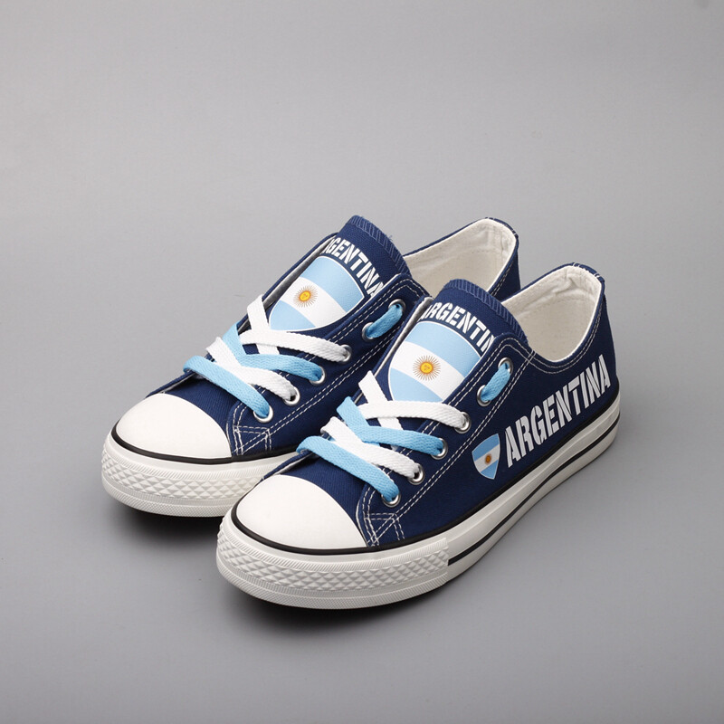 Customize Argentina Print Canvas Shoes Argentine Design Low Top Sport Sneakers