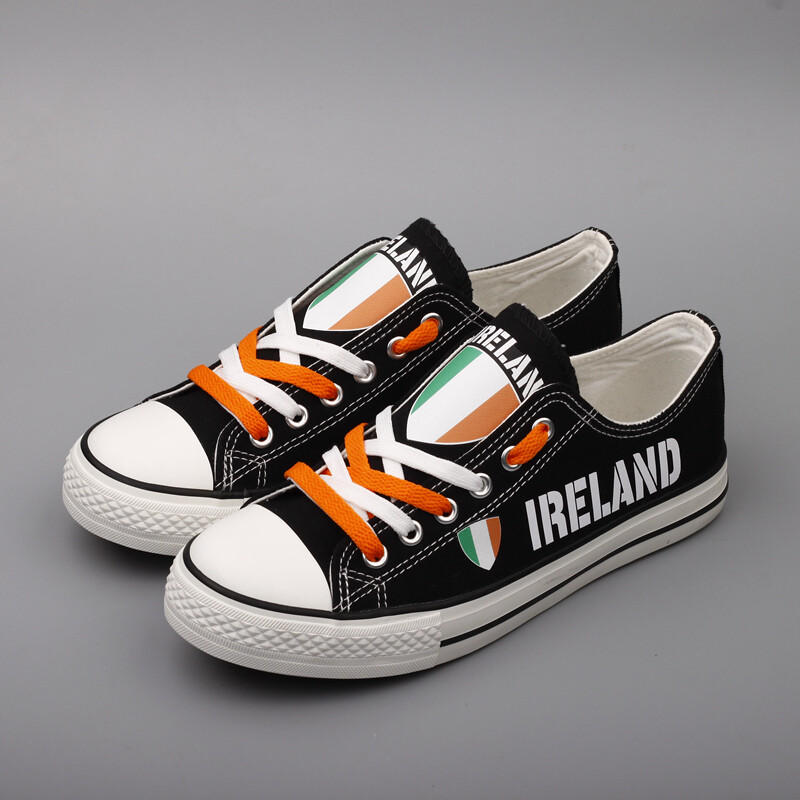 Customize Ireland Country Print Canvas Shoes Irish Design Low Top Sport Sneakers