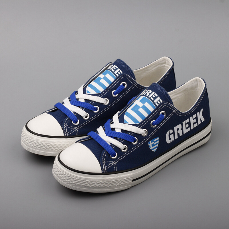 Customize Greece Print Canvas Shoes Greek Design Low Top Sport Sneakers