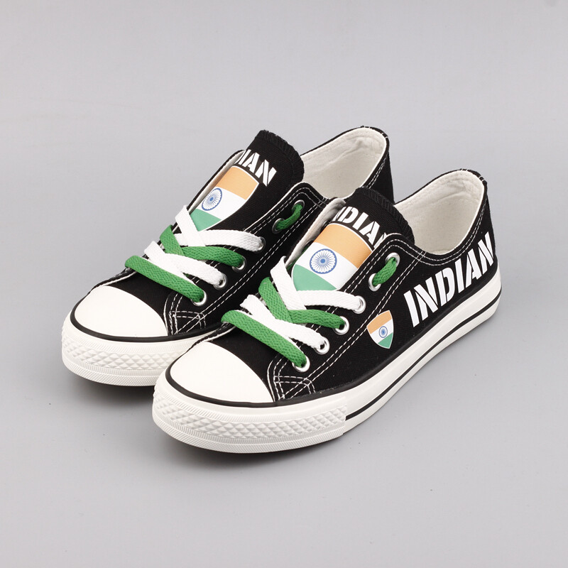 Customize India Print Canvas Shoes Indian Design Low Top Sport Sneakers