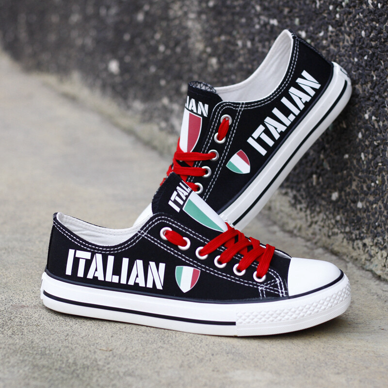 Customize Italy Country Print Canvas Shoes Italian Design Low Top Sport Sneakers