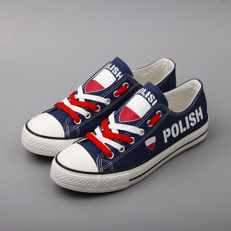 Customize Poland Print Canvas Shoes Polish Design Low Top Sport Sneakers