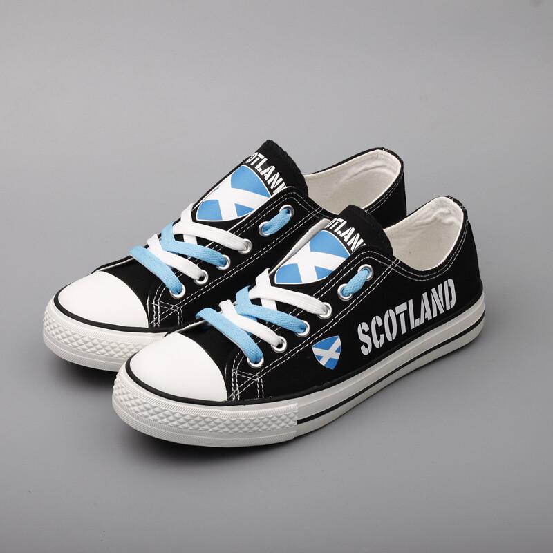 Customize Scotland Print Canvas Shoes Scot Design Low Top Sport Sneakers