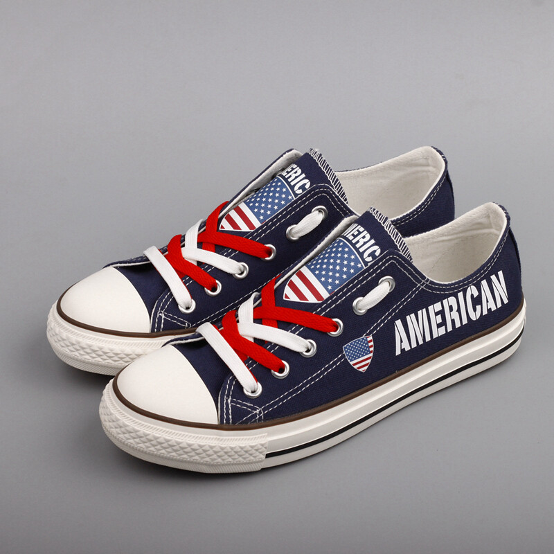 Customize US America Print Canvas Shoes American Design Low Top Sport Sneakers