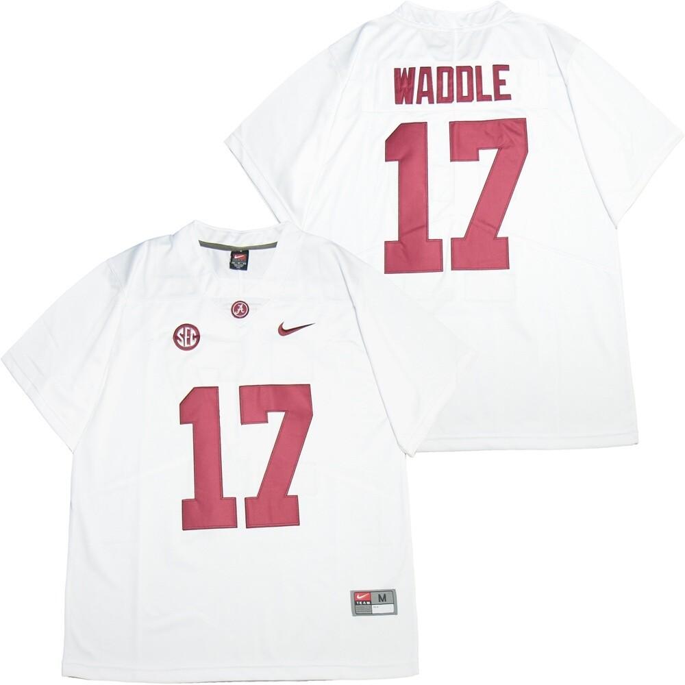 Alabama Crimson Tide #17 Jaylen Waddle College Football Jersey White
