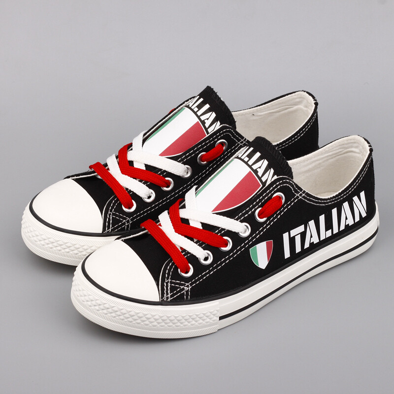 Customize Italy Country Print Canvas Shoes Italian Design Low Top Sport Sneakers 1