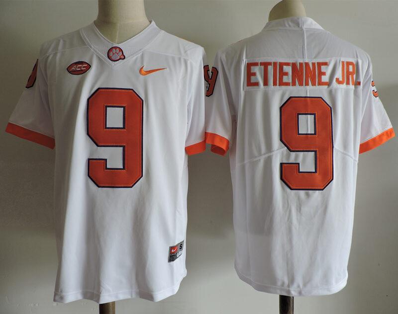 Clemson Tigers #9 Travis Etienne Jr College Football Jersey White