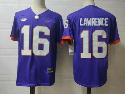 Clemson Tigers #16 Trevor Lawrence College Football Jersey Blue