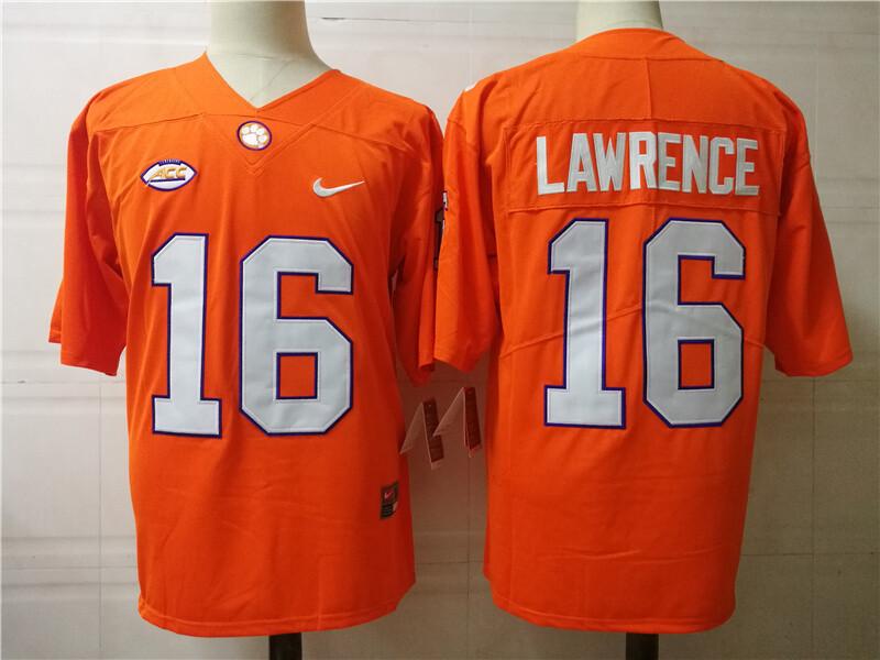Clemson Tigers #16 Trevor Lawrence College Football Jersey Orange