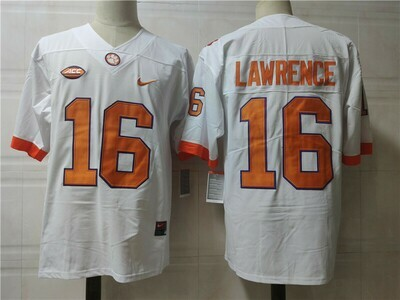 Clemson Tigers #16 Trevor Lawrence College Football Jersey White