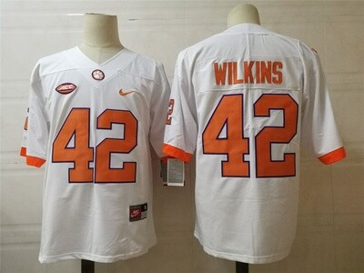 Clemson Tigers #42 Wilkins College Football Jersey White