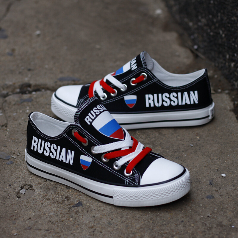 Customize Russia Print Canvas Shoes Russian Design Low Top Sport Sneakers