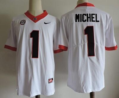 Georgia Bulldogs #1 Sony Michel College Football Jersey White