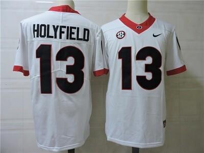 Georgia Bulldogs #13 Holyfield College Football Jersey White