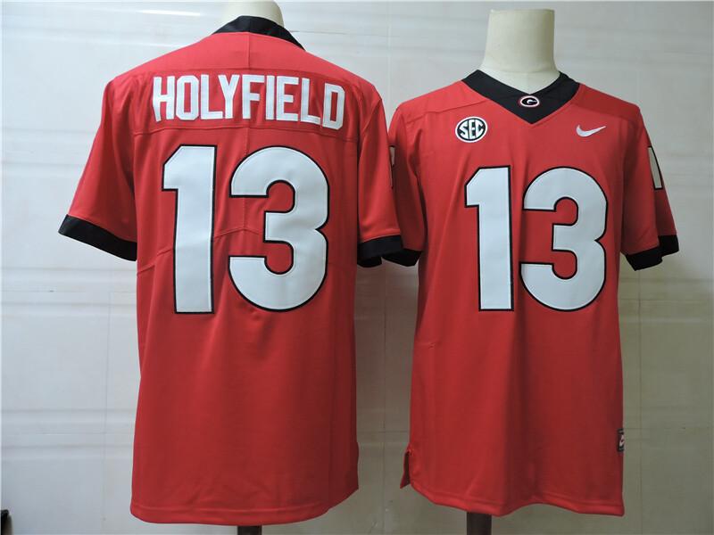 Georgia Bulldogs #13 Holyfield College Football Jersey Red