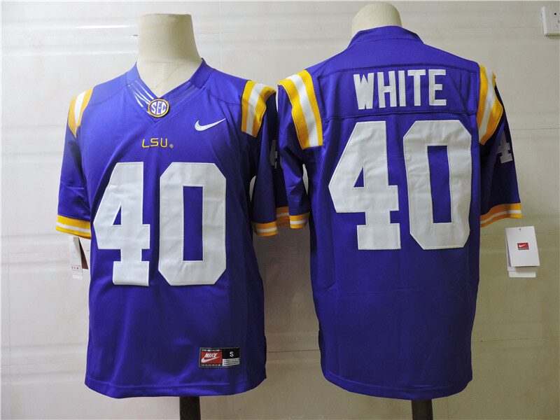 LSU Tigers #40 White College Football Jersey Blue
